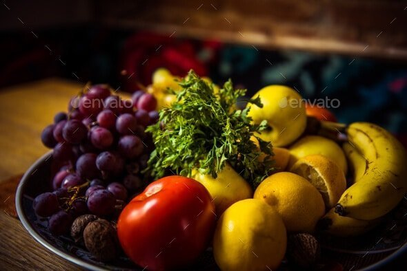 Juicy fruits and vegetables on a wooden table  - Mix of delicious fruits - Chia sẻ 7 item Envato Market miễn phí tháng 12 – 2017