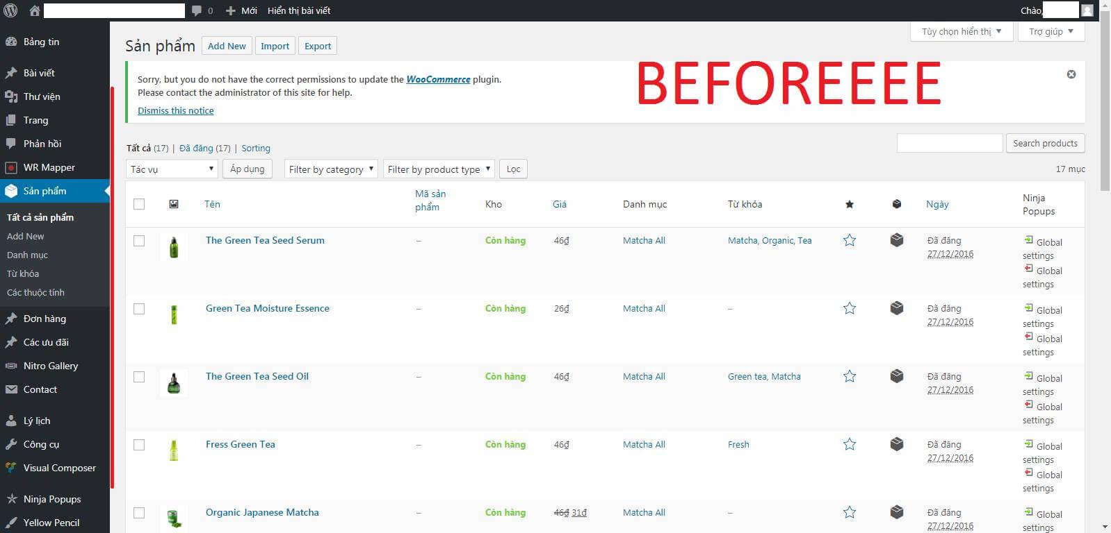 - before - Tối ưu hóa Dashboard để bàn giao thông tin quản trị cho Client.