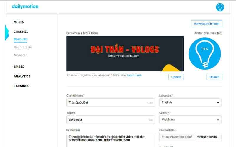 - dailymotion channel basic info - Phần 3 – Hướng dẫn sử dụng Partner HQ Dailymotion – Căn bản