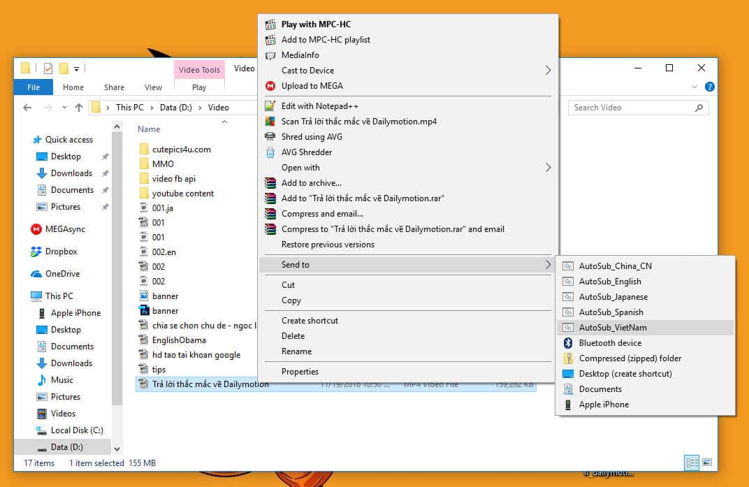 autosub - sendto menu - Install AutoSub Step to Step in Windows with Translate subtitle